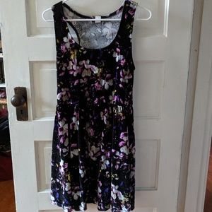 Purple velvet floral skater dress
